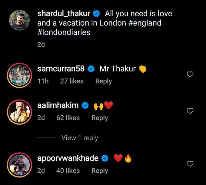 Sam Curran & Shardul Thakur in banter on Thakur's vacation