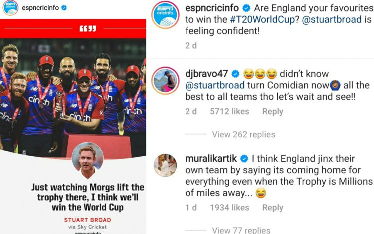 Bravo & Karthik trolls Broad after latter backed Eng to win T20I World cup