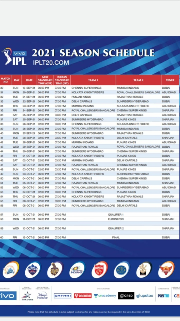 Phase 2 schedule of IPL 2021 announced