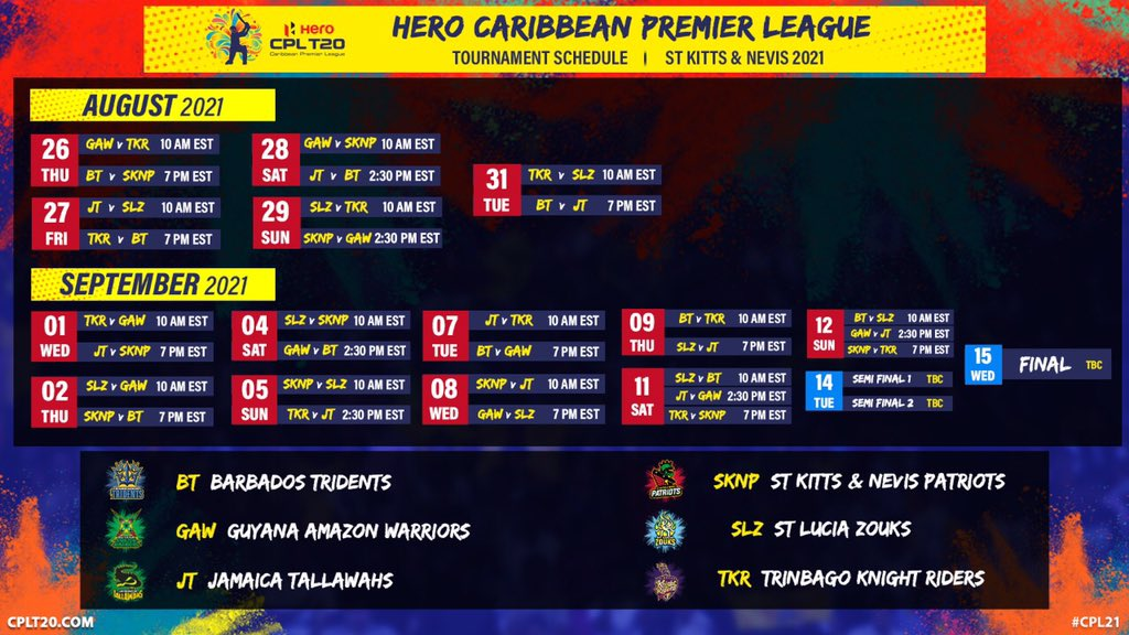 Caribbean Premier League to be played from 26 Aug till 15 Sep