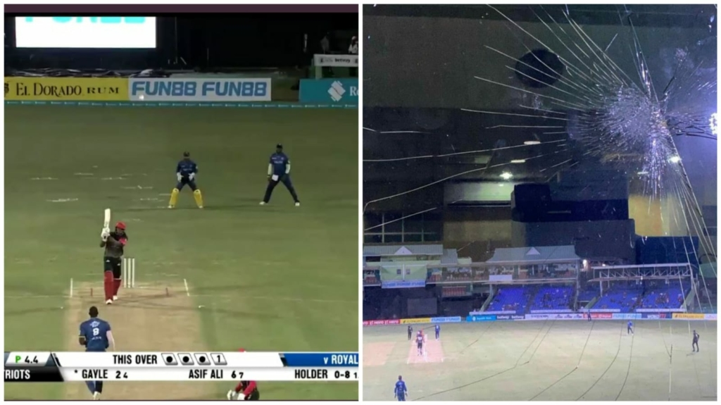 Gayle hits Holder for straight Six & breaks glass panes in CPL