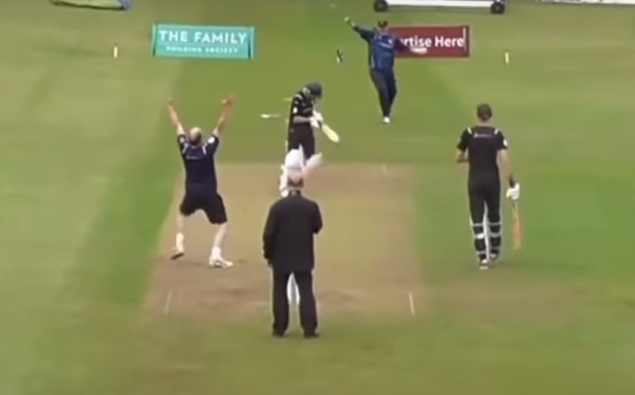 Father knocks over son in a charity cricket match