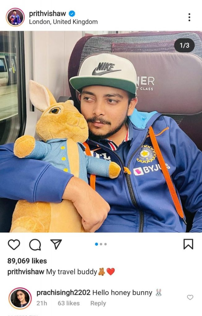 Prithvi gets a response from a special one on his bunny toy photo